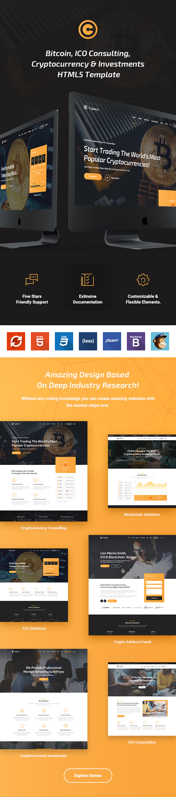 Cryptech - Responsive Bitcoin, Cryptocurrency and Investments HTML Template - 2