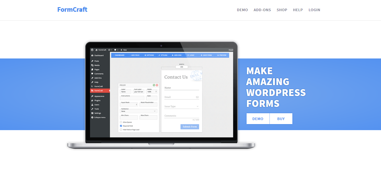 formCraft contact form plugin