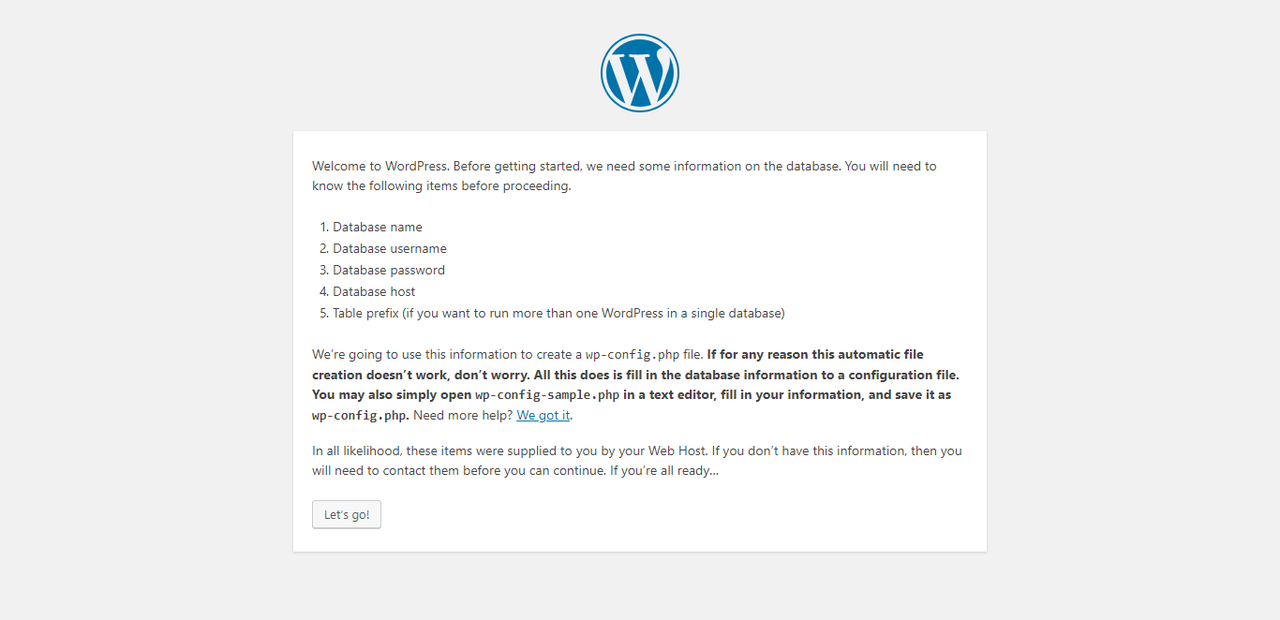 Start installing WordPress on your host