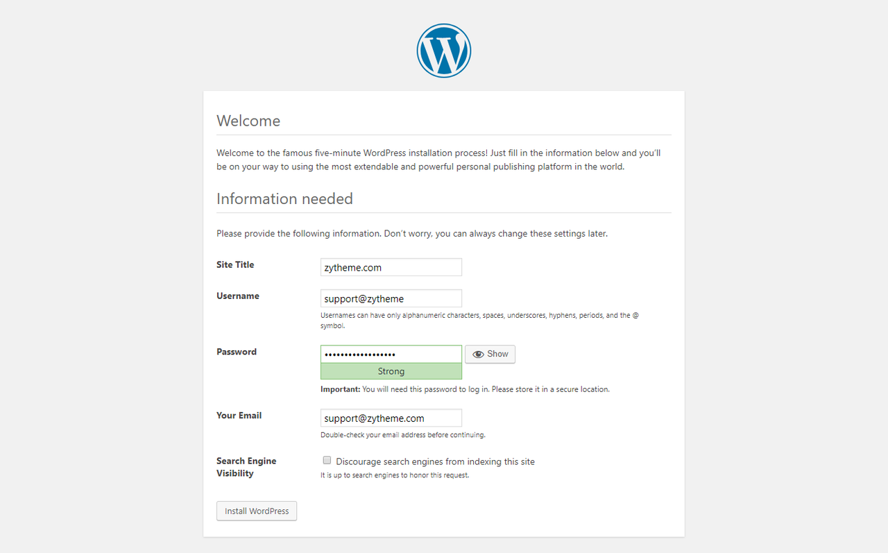input information for WordPress creation