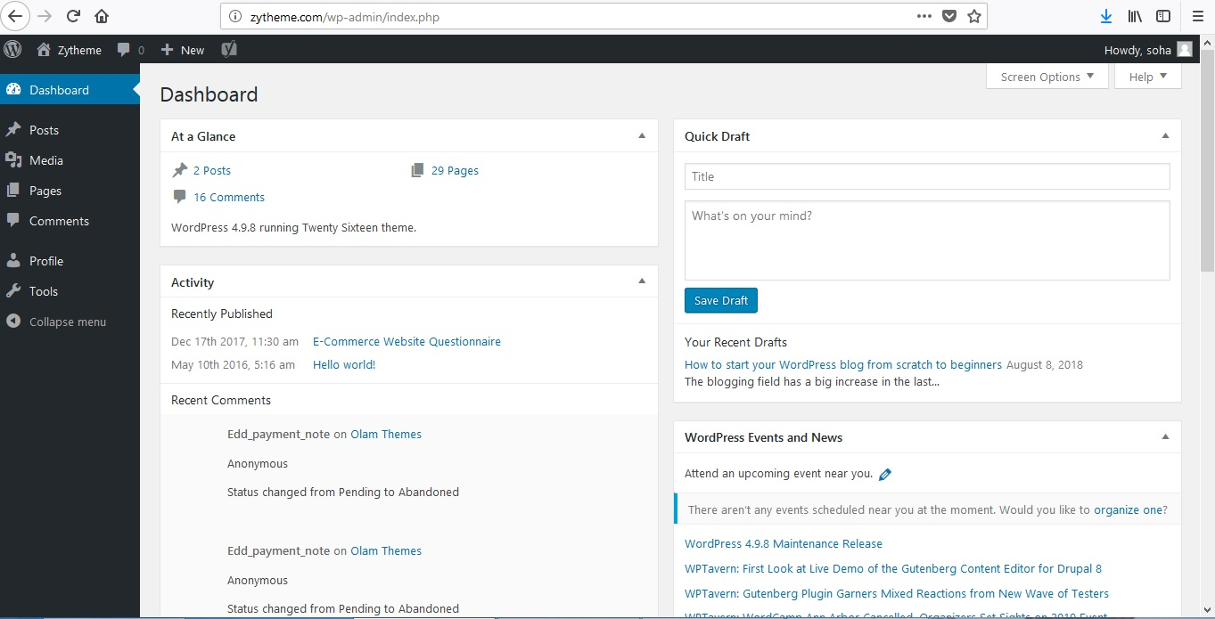 dashboard of wordpress after login
