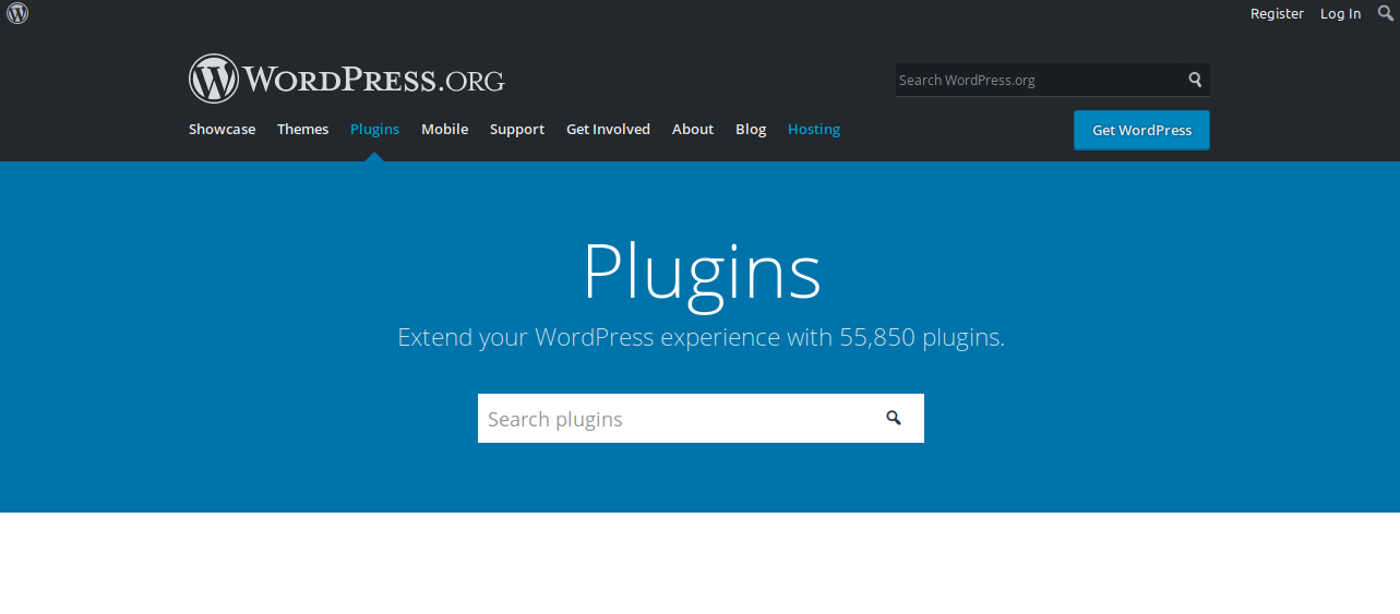 hoem page of plugins on wordpress