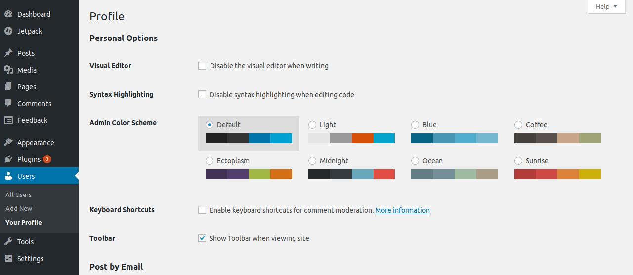 changin color on WordPress