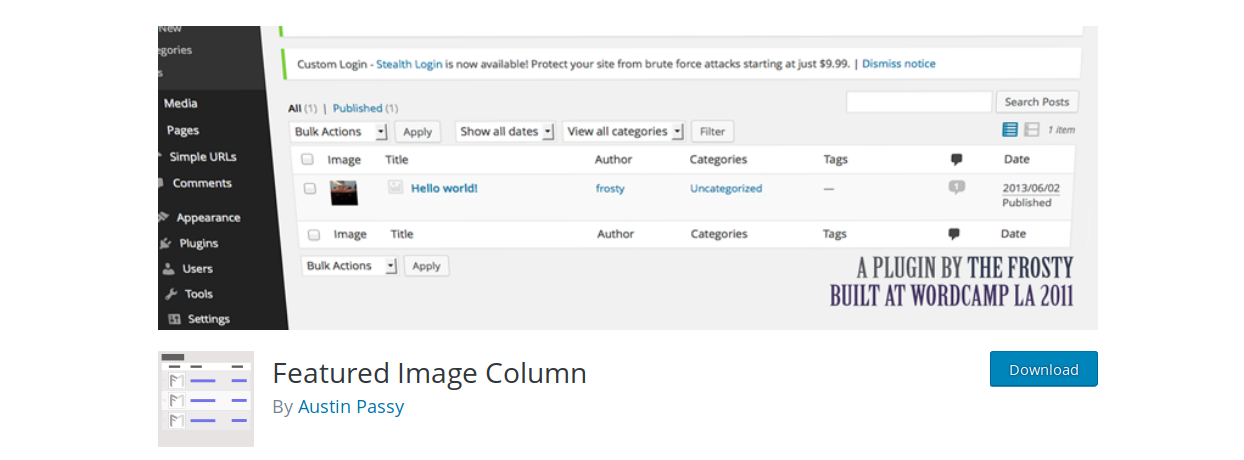 featured_image_column_WordPress_plugin