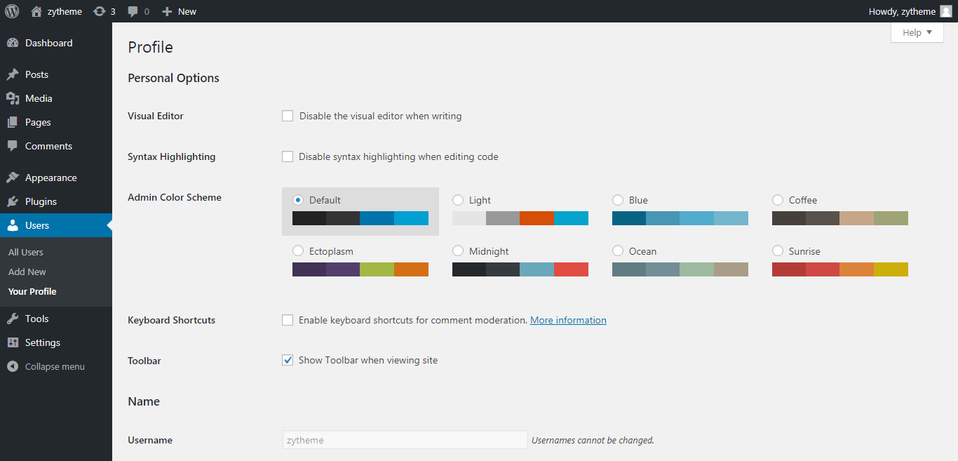 change the admin color scheme in wordpress change the color