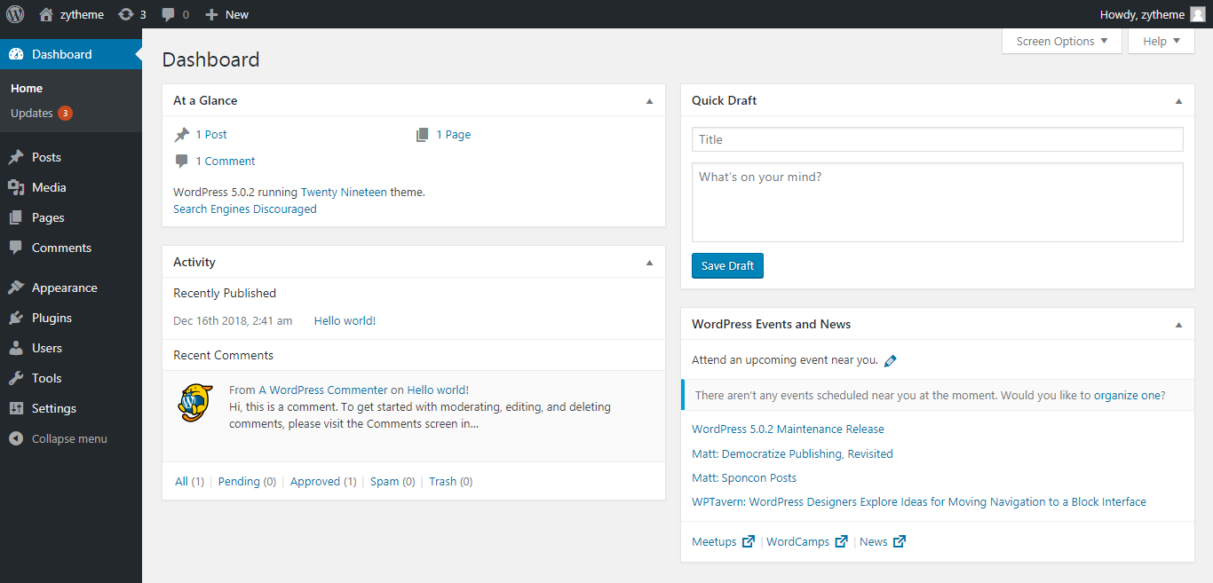 change the admin color scheme in wordpress dashboard