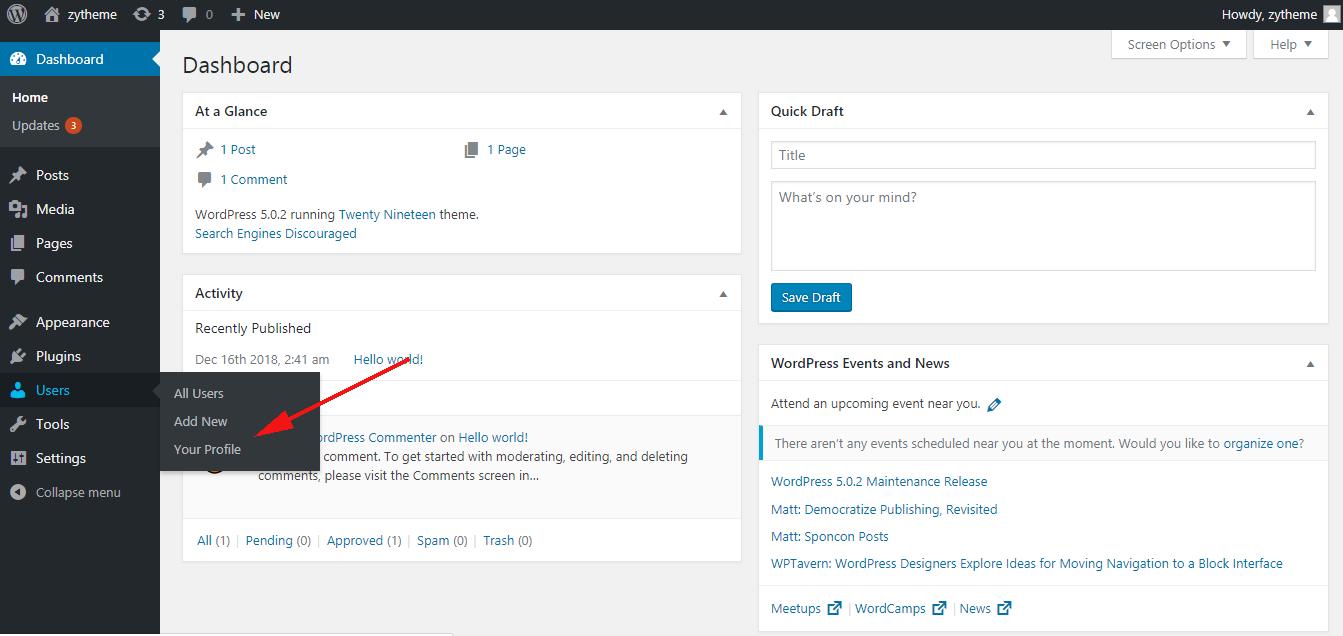 change the admin color scheme in wordpress choose the profile