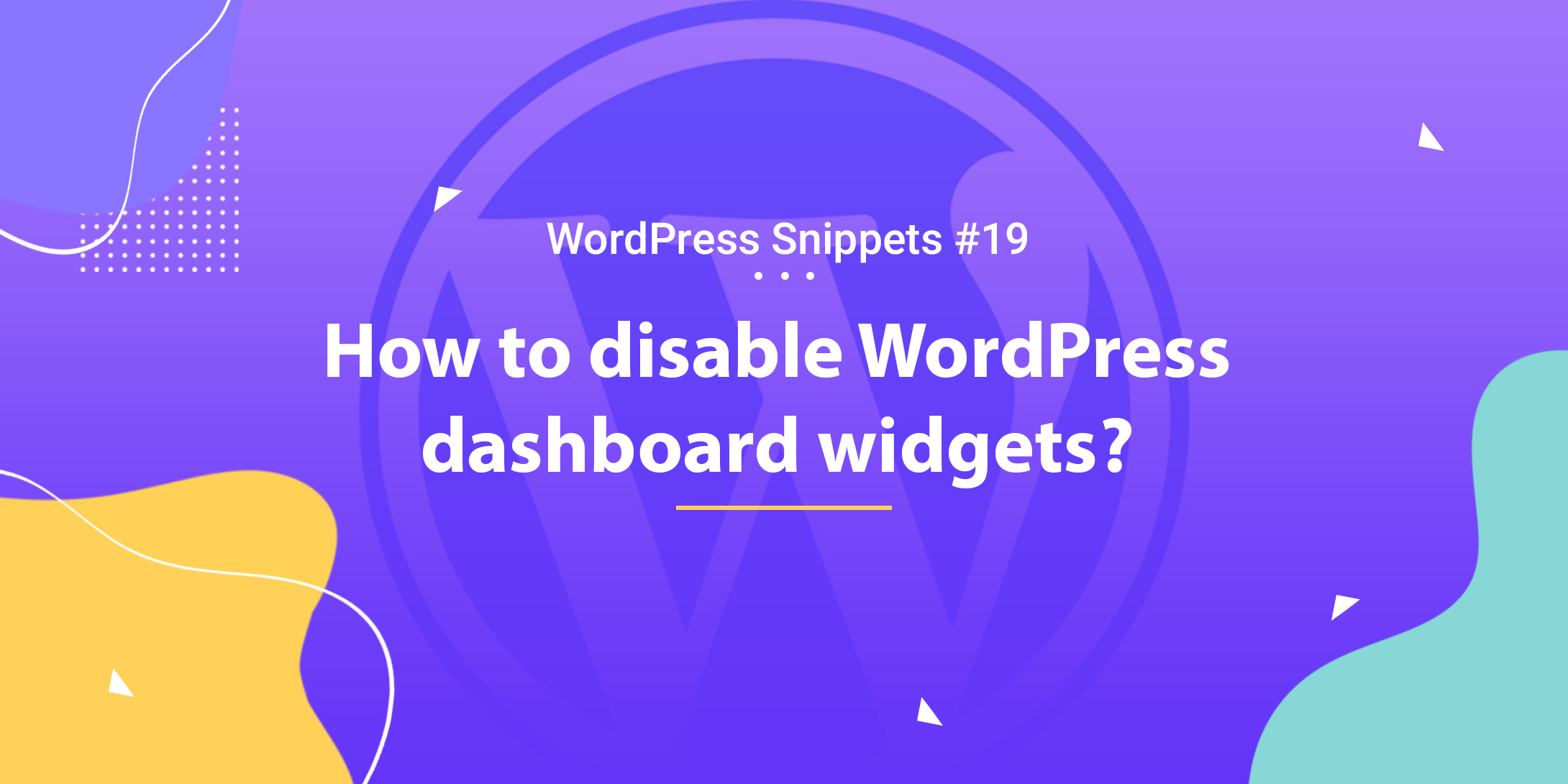 How To Disable Dashboard Widgets 1