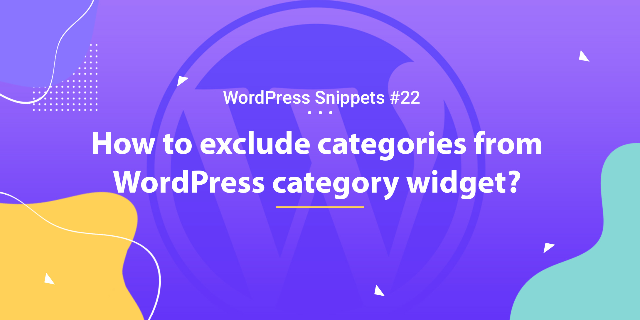 How to exclude categories from the WordPress category widget 1
